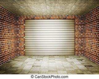 garage - vintage garage with a steel gate and bricks walls.