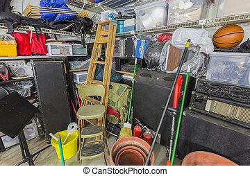 Garage Storage Corner - Storage corner in cluttered suburban...