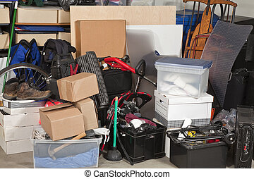 Garage Storage - Pile of boxes junk inside a residential...