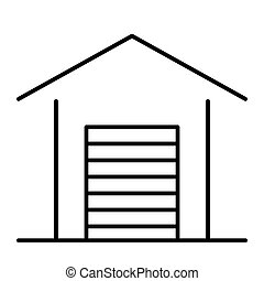 Garage thin line icon. Car garage vector illustration isolated on white. Auto garage outline style design, designed for web and app. Eps 10.