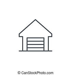 Garage thin line icon. Linear vector symbol