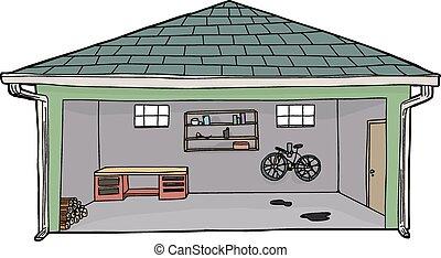 Vecteurs eps de garage ouvert tas journal bord b che - Garage ouvert ...