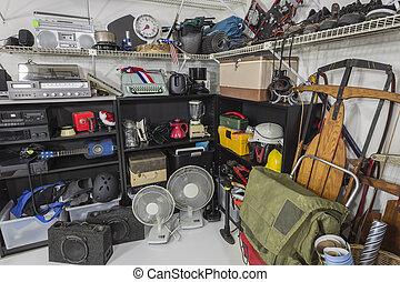 garage, vendange, coin, vente