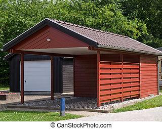 garage, voiture, moderne, auvent, stationnement