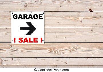 garage, weißes, verkauf zeichen
