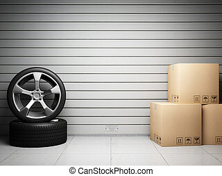 Garage with car spare parts on background of roller door