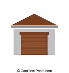 garage with roller shutter door