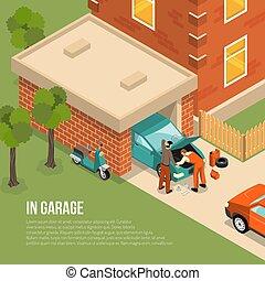 garagem, exterior, isometric, ilustração