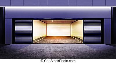 garagem, modernos, vazio, noturna