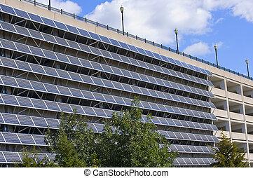 garagem, painéis, solar, estacionamento