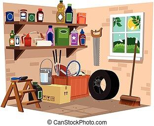 garagem, prateleiras