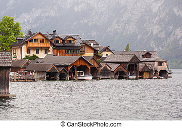Garages for boats at lake in the Austrian city of Halltatt