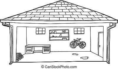 garaje, banco de trabajo, bicicleta, contorneado