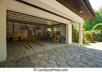 garaje, cajas, cartón