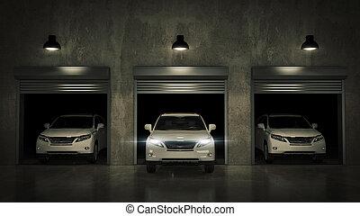 garaje, con, abierto, rodillo, door., 3d