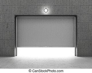 garaje, edificio, hecho, de, concreto, con, rodillo,...