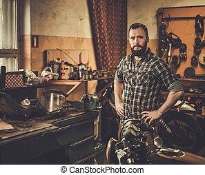 garaje, motocicleta, mecánico, costumbre