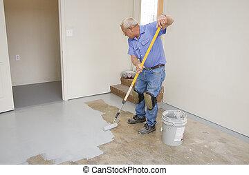 garaje, pintura, piso