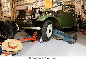 garaje, viejo, avisador