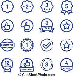 garantía, bienes, durabilidad, aislado, icons., símbolos,...