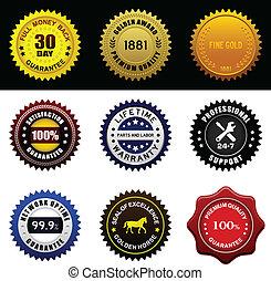 garantía, garantía, premio, sello