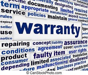 garantía, mensaje, servicio del consumidor, plano de fondo