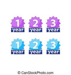 garantía, plano, garantía, tres, dos, vector, año, etiqueta,...