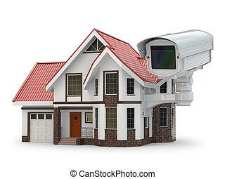 garanti, cctv kamera, på, den, house.