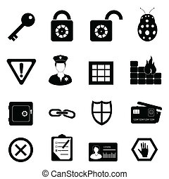 garanti, sæt, sikkerhed, ikon