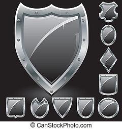 garanti, symbol, arme, sort, skjolde, illustration, belægge, sæt, vektor, iconerne