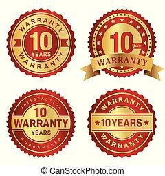 garantia, 10, etiquetas, anos, vetorial, emblema, vermelho