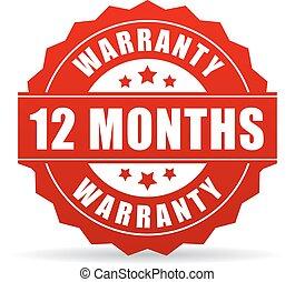 garantia, 12, meses, vetorial, ícone