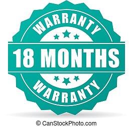 garantia, 18, meses, vetorial, ícone