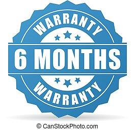 garantia, 6, meses, vetorial, ícone