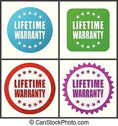 garantia, apartamento, 10., coloridos, teia, set., ícones, eps, botões, vetorial, desenho, internet, vida, versions, ícone, quatro