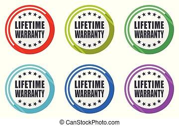 garantia, apartamento, 10., coloridos, teia, set., ícones, eps, vetorial, desenho, fundo, vida, branca, ícone