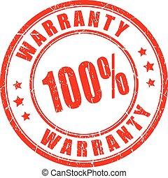 garantia, borracha, vetorial, selo