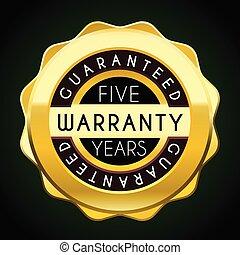garantia, dourado, badge., etiqueta, cinco, anos, garantia