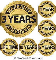 garantia, dourado, etiqueta, jogo, vetorial