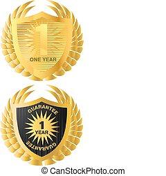 garantia, dourado, label., garantia