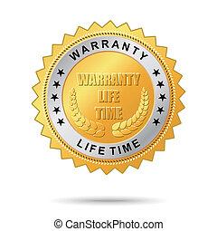 garantia, dourado, vida, tempo, etiqueta