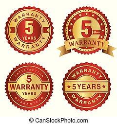 garantia, etiquetas, anos, vetorial, 5, emblema, vermelho