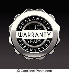 garantia, isolado, etiqueta, experiência., dois, branca, anos, emblema, prata, garantia