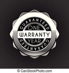 garantia, isolado, um, experiência., ano, branca, etiqueta, emblema, prata, garantia