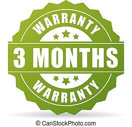 garantia, meses, três, vetorial, ícone