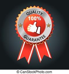 garantia, qualidade, topo, emblema, ouro