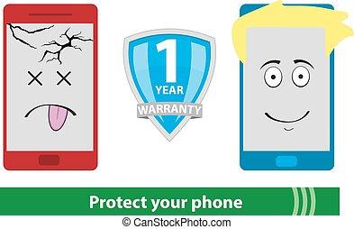 garantia, telefone ícone