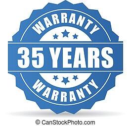 garantia, vetorial, anos, 35, ícone