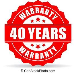 garantia, vetorial, anos, quarenta, ícone