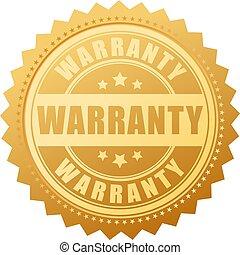 garantia, vetorial, selo ouro